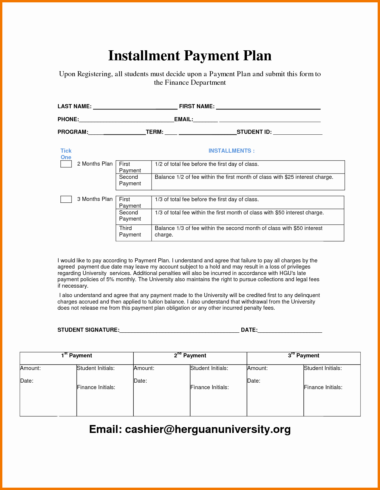 Payment Plan Agreement Template New Payment Contract Template