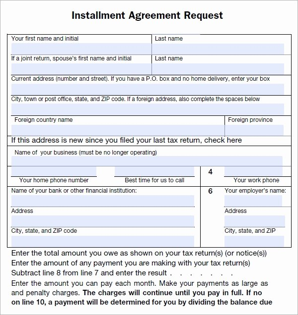 Payment Plan form Inspirational Installment Agreement 5 Free Pdf Download