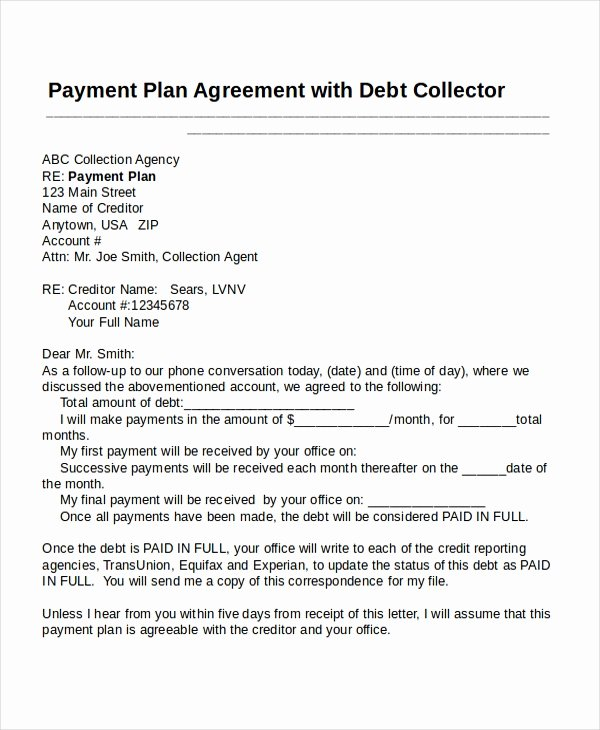 Payment Plan Letter Fresh 22 Agreement Templates Free Sample Example format