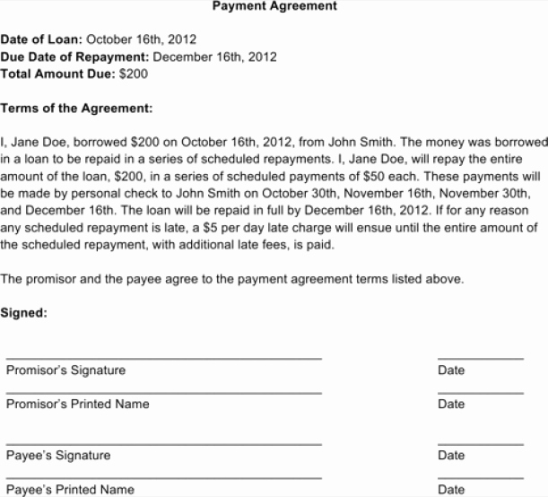 Payment Plan Letter Luxury Payment Plan Agreement Templates Word Excel Samples