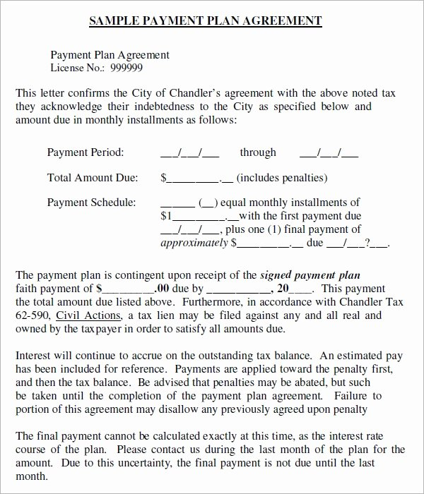 Payment Plan Letter New Installment Agreement 5 Free Pdf Download