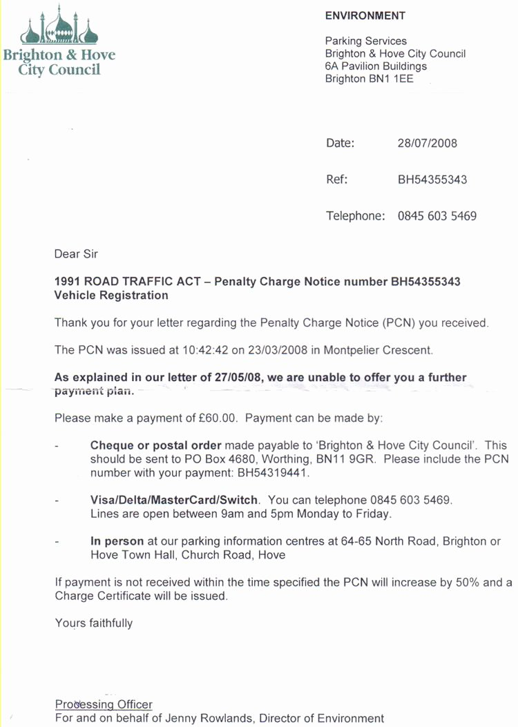 Payment Plan Letter Unique Pcn S Second Payment Plan Refused Fightback forums