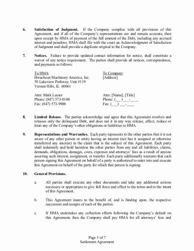 Payment Settlement Agreement Best Of Settlement Agreement