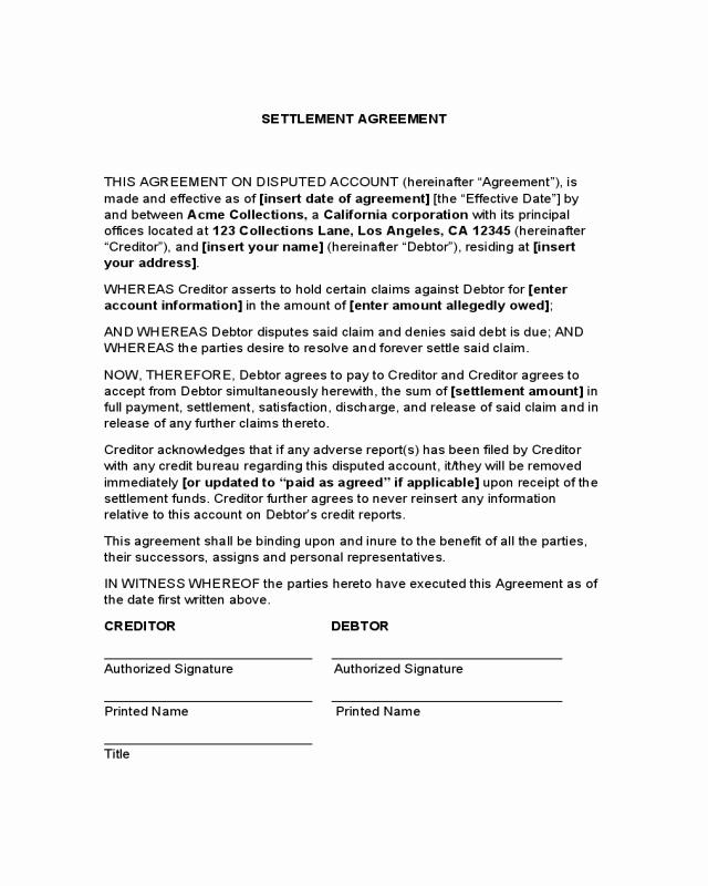 Payment Settlement Agreement Elegant 2019 Debt Settlement Agreement form Fillable Printable