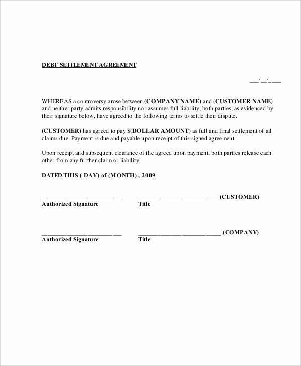 Payment Settlement Agreement Elegant 65 Simple Agreements