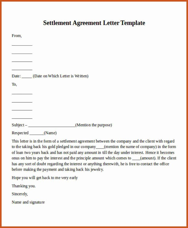 Payment Settlement Agreement Elegant Payment Agreement Letter