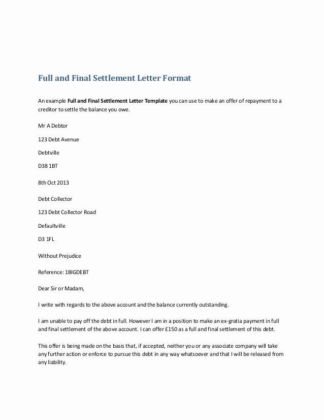 Payment Settlement Agreement Elegant Settlement Letter format