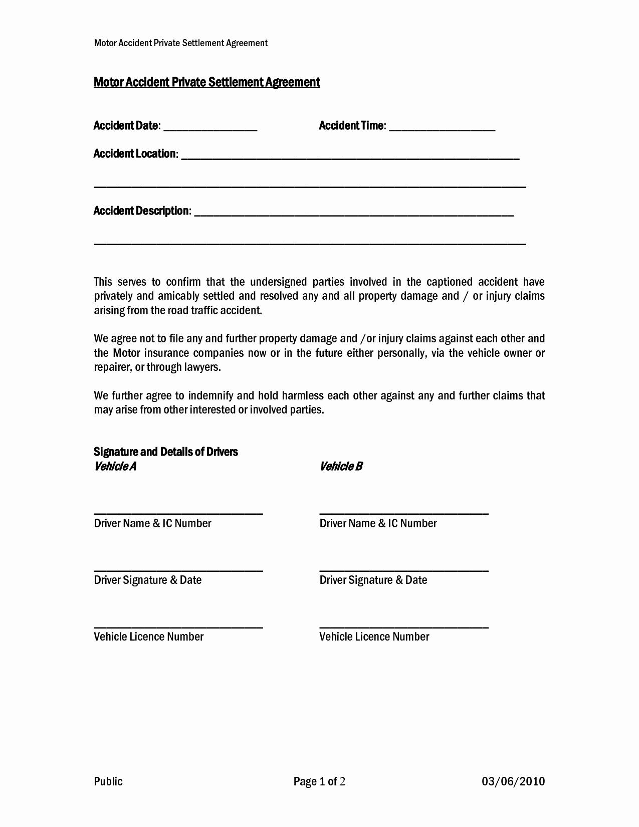 Payment Settlement Agreement Fresh Car Accident Private Settlement Agreement form Templates Doc