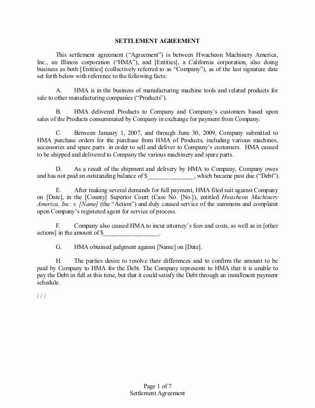 Payment Settlement Agreement Fresh Settlement Agreement