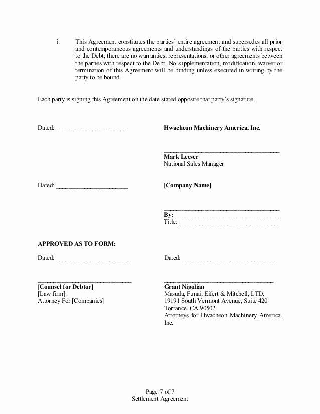 Payment Settlement Agreement Inspirational Settlement Agreement
