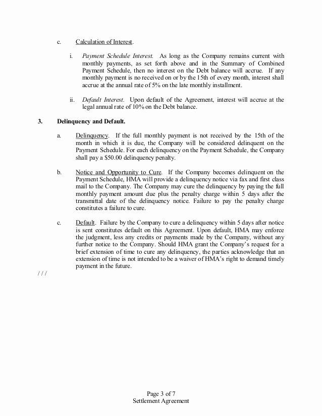 Payment Settlement Agreement Luxury Settlement Agreement