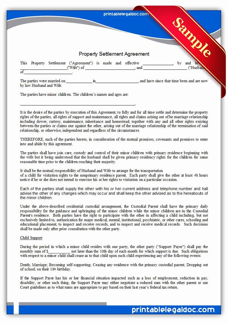Payment Settlement Agreement Unique Free Printable Child Visitation Rights Viiolation Notice