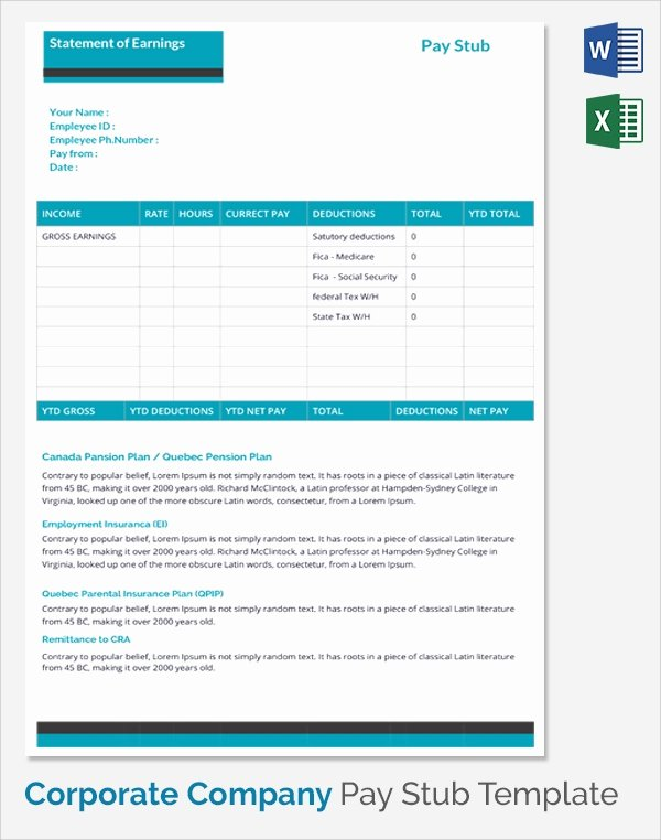 Payoff Statement Template Word Awesome 25 Sample Editable Pay Stub Templates to Download