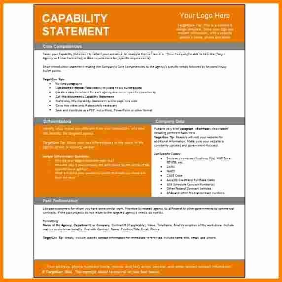 Payoff Statement Template Word Inspirational 5 Capability Statement Template Word