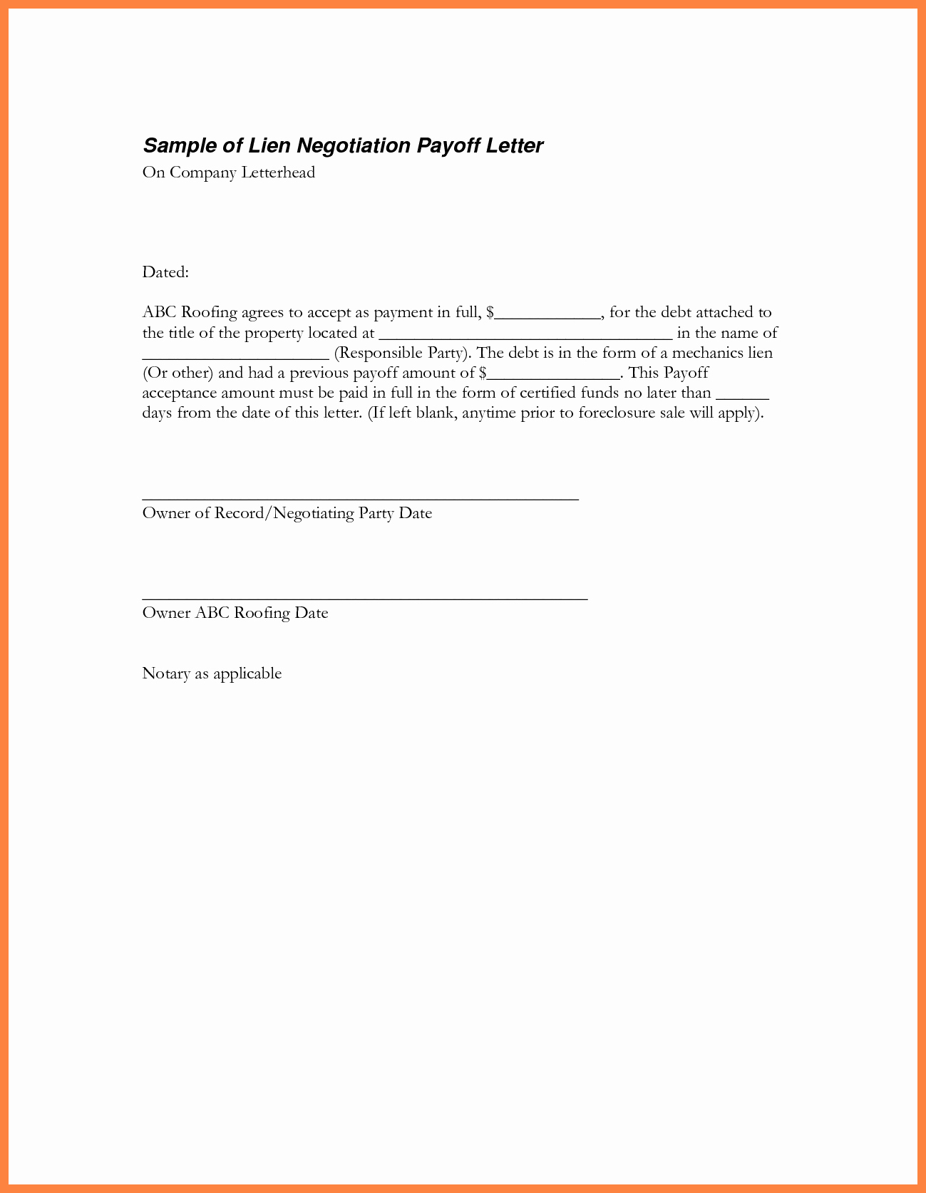 Payoff Statement Template Word Luxury 10 Payoff Statement Template