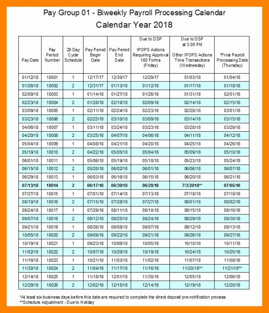 Payroll Calendar 2019 Template Elegant Biweekly Payroll Calendar Template 2019