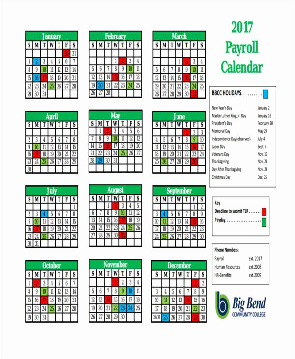 Payroll Calendar 2019 Template Fresh 7 Payroll Calendar Templates Sample Example