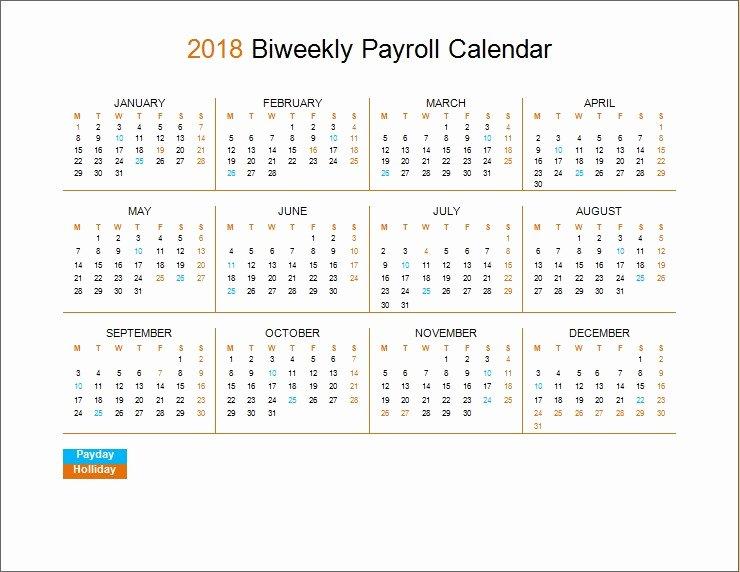 Payroll Calendar 2019 Template New 2018 Biweekly Payroll Calendar Template