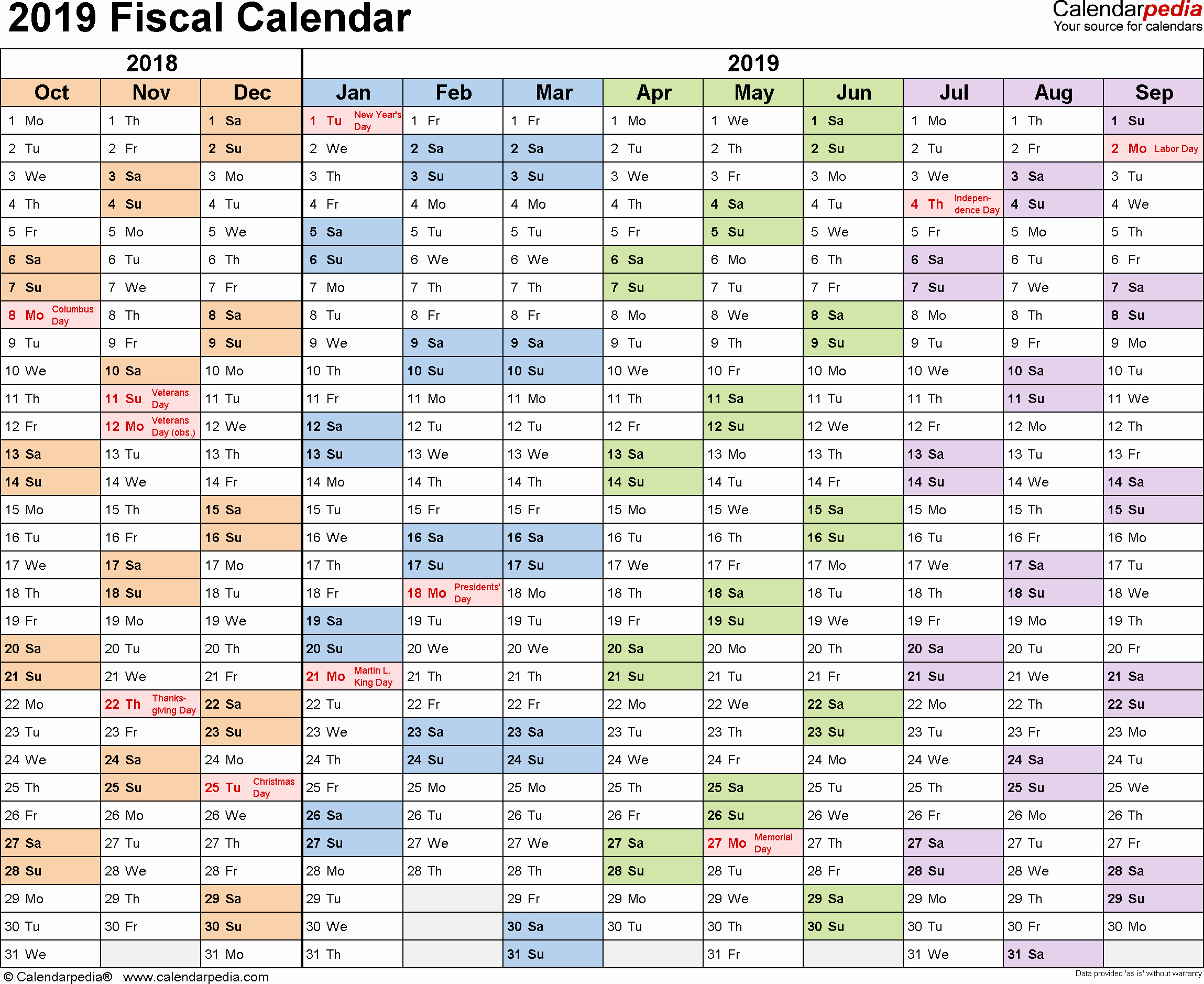 Payroll Calendar 2019 Template Unique 2019 Payroll Calendar Printable