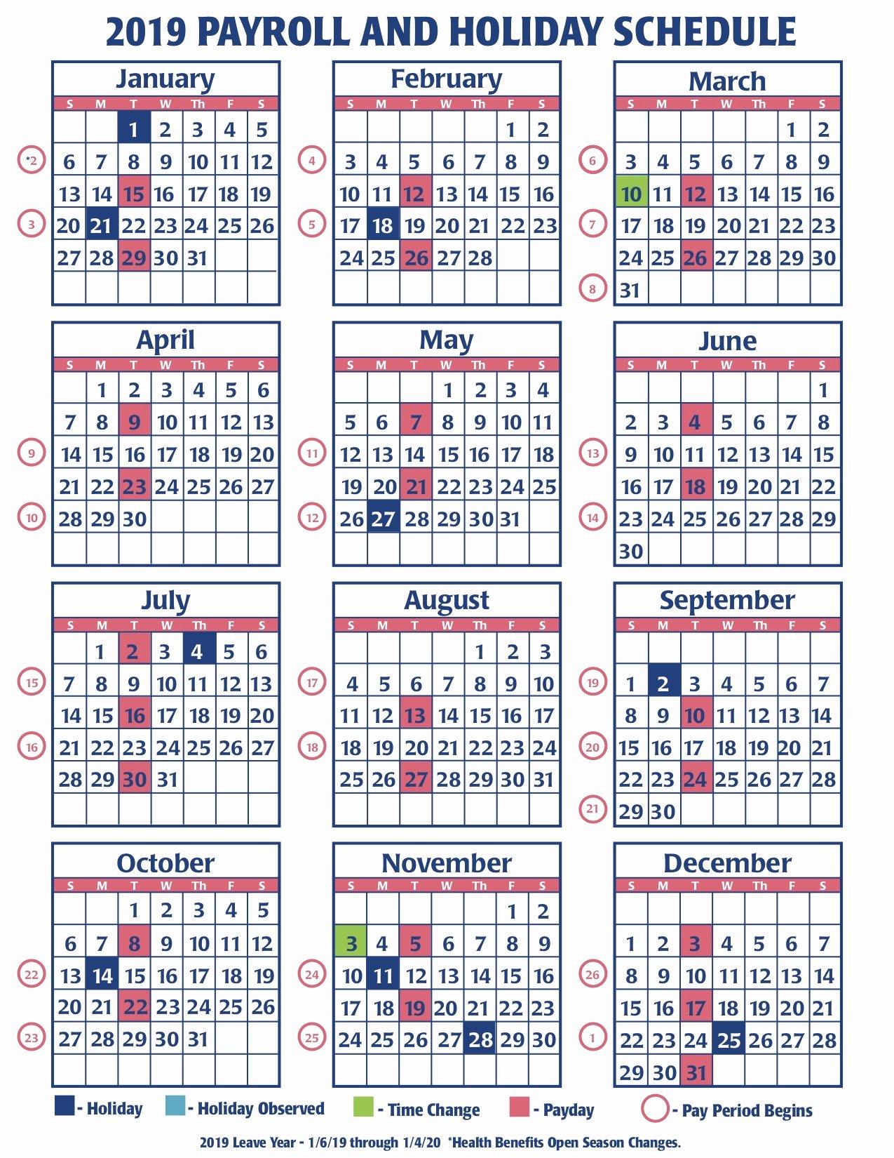 Payroll Calendar Template 2019 Fresh Weekly Payroll Calendar for 2019