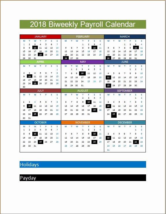 Payroll Calendar Template 2019 New 2018 Biweekly Payroll Calendar Template