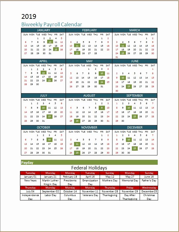 Payroll Calendar Template 2019 Unique 2018 Biweekly Payroll Calendar Template