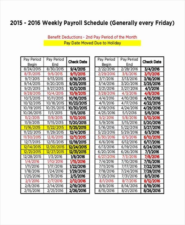 Payroll Calendar Template Elegant Payroll Schedule Templates