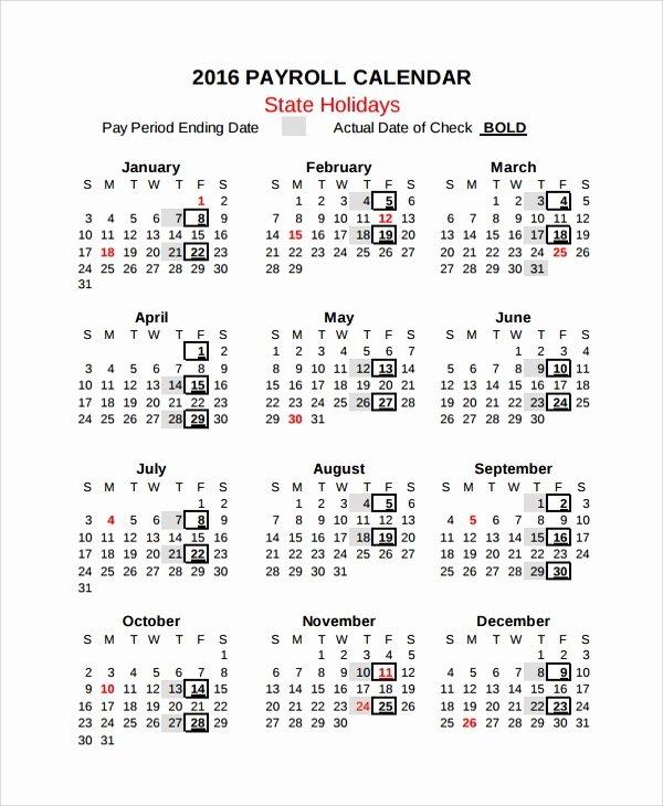 Payroll Calendar Template Inspirational 10 Payroll Calendar Templates