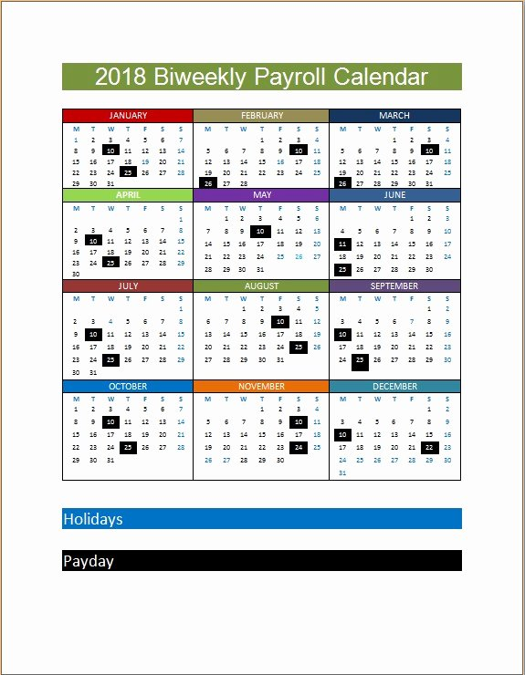 Payroll Calendar Template Luxury 2018 Biweekly Payroll Calendar Template