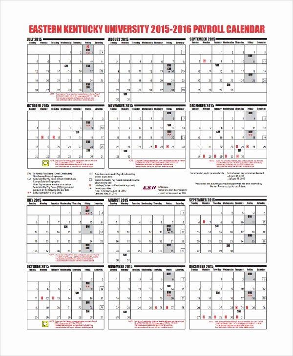 Payroll Calendar Template New 10 Payroll Calendar Templates