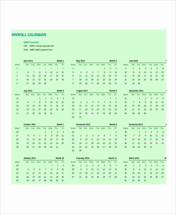 Payroll Calendar Templates New Payroll Calendar Template 10 Free Excel Pdf Document