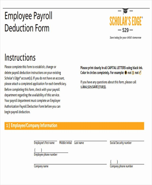 Payroll Deduction form Word Awesome Employee Payroll Templates