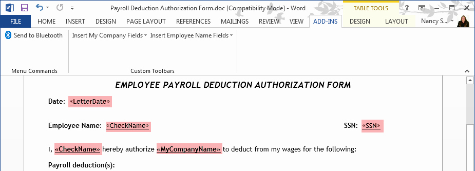 Payroll Deduction form Word Inspirational Create A Payroll Deduction Authorization Using Quickbooks