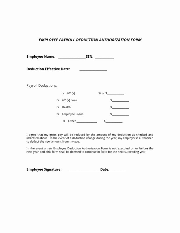 Payroll Deduction form Word Lovely 15 Payroll Deduction Authorization form Template