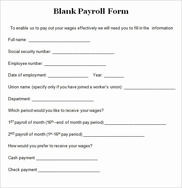 Payroll Deduction form Word Lovely 8 Blank Payroll form Templates
