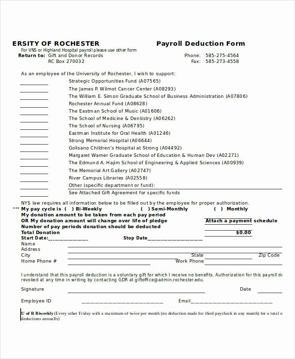 Payroll Deduction form Word Luxury 21 Payroll forms In Excel