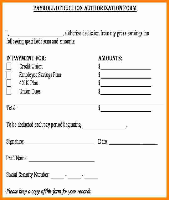 Payroll Deduction form Word New 5 Payroll Deduction Authorization form Template
