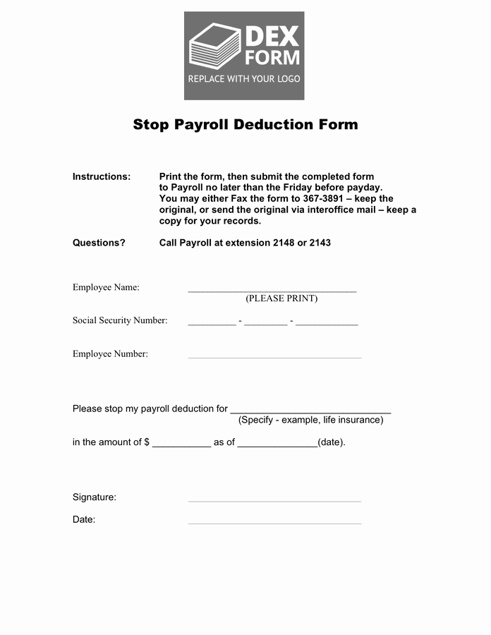 Payroll Deduction form Word New Stop Payroll Deduction form In Word and Pdf formats