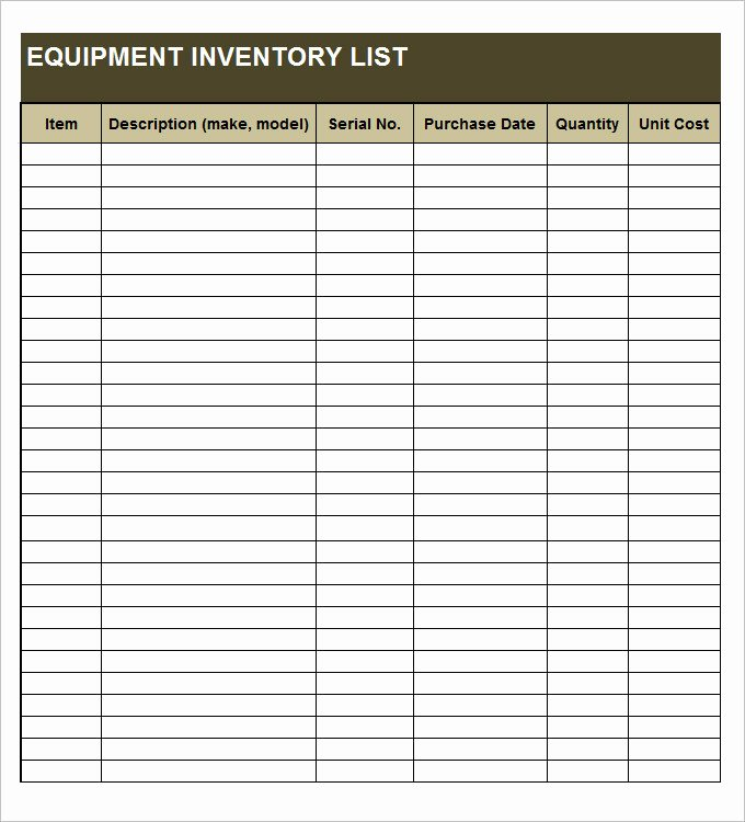 Pc Build Checklist Template Elegant Equipment Inventory Template 14 Free Word Excel Pdf