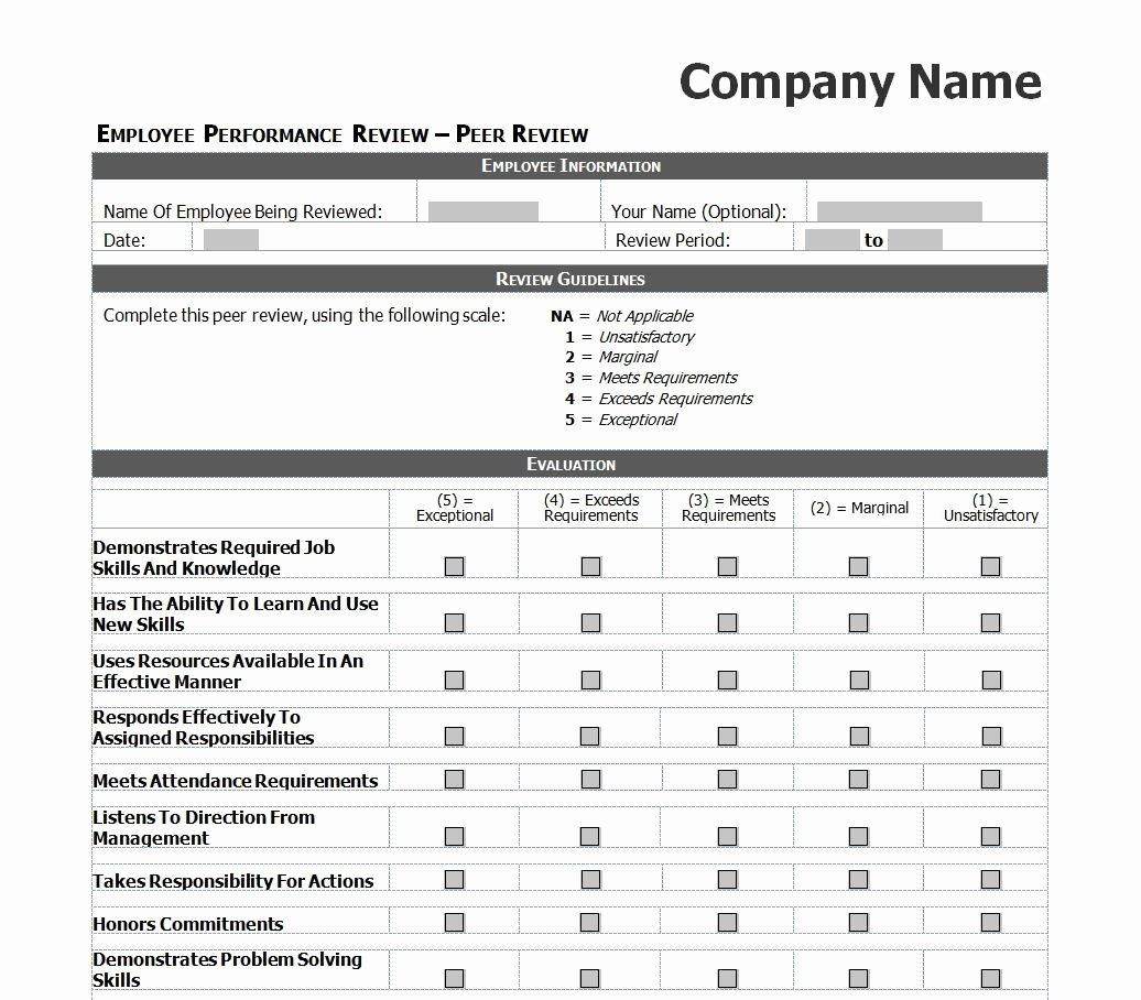 Peer Review Template Elegant Employee Evaluation Template Excel Images