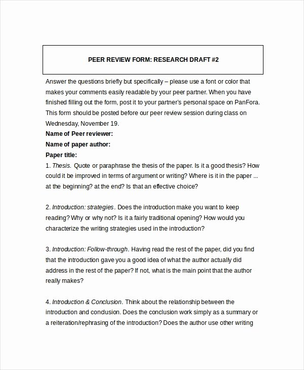 Peer Review Template Luxury 8 Sample Peer Feedback forms Example Sample format