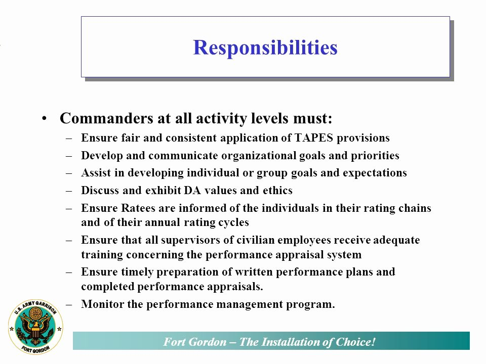 Performance Goals and Expectations Examples Army Lovely total Army Performance Evaluation System Ppt