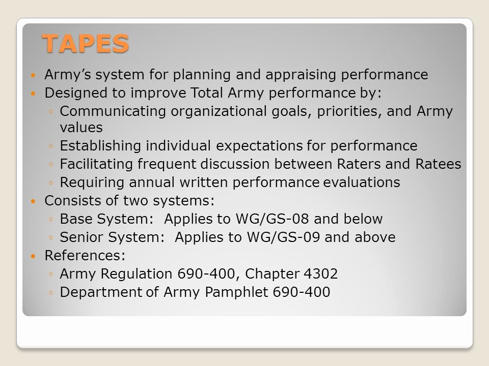 Performance Goals and Expectations Examples Army New total Army Performance Evaluation System Tapes Ppt