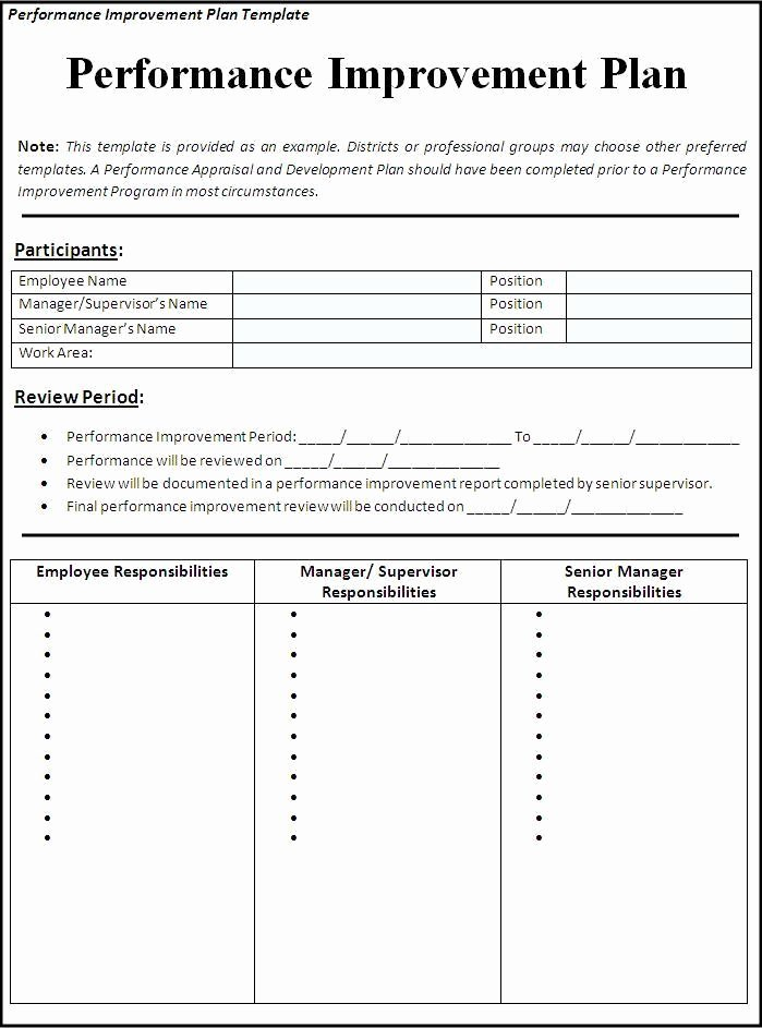 Performance Improvement Plan Template Excel Elegant Performance Improvement Plan Template