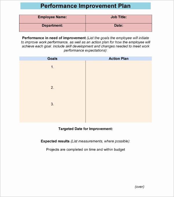 Performance Improvement Plan Template Excel Inspirational 42 Performance Improvement Plan Templates Free Word Xls