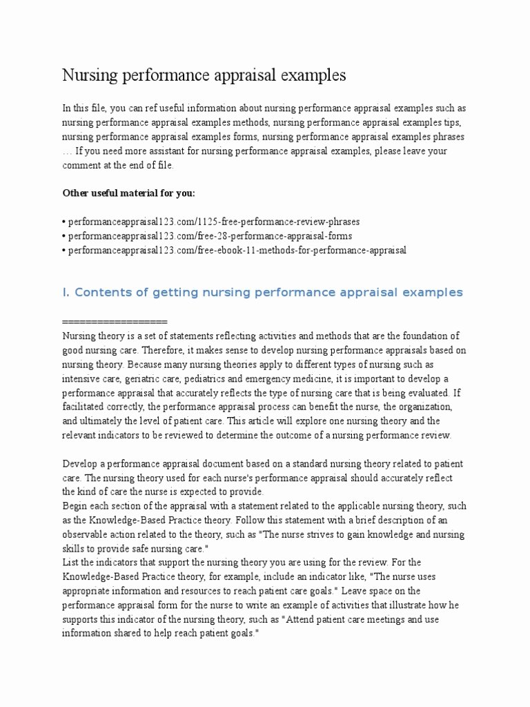 Performance Summary Example Awesome Nursing Performance Appraisal Examples