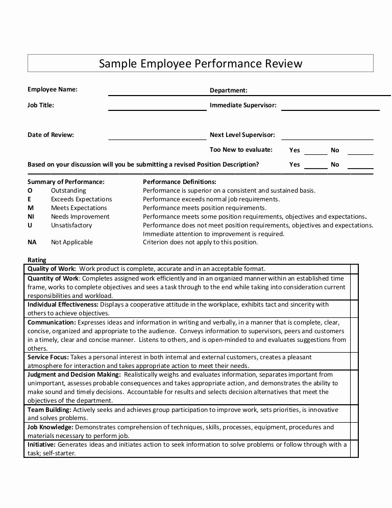 Performance Summary Example Unique Sample Employee Performance Review
