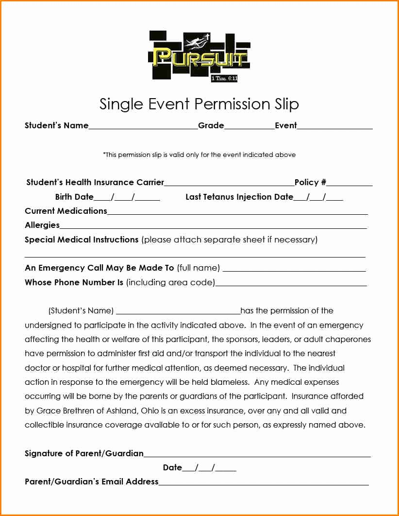 Permission Slip Lds Inspirational 5 Church Youth Group Permission Slip Template