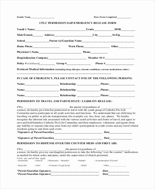 Permission Slips Lds Beautiful Sample Emergency Release form