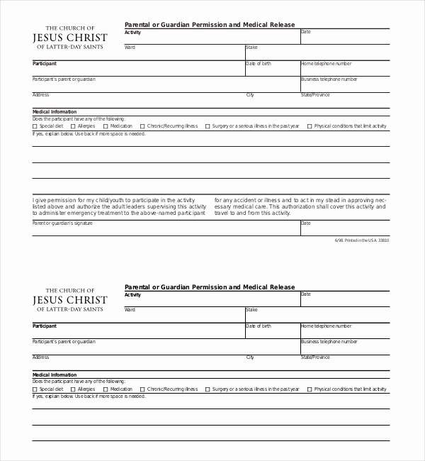 Permission Slips Lds Best Of 20 Sample Medical Release forms